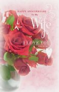 Bouquet of Roses Wife Anniversary Card